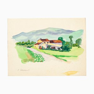 Countryside - Original Watercolor on Paper by Pierre Segogne - 1950s 1950