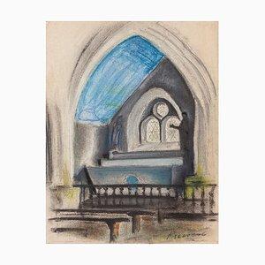 Innere Kapelle - Original Pastell auf Papier von Pierre Segogne - 1950er 1950er