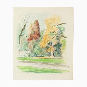 Countryside with Farmhouses - Pastel and Watercolor by P. Segogne - 1930 1930