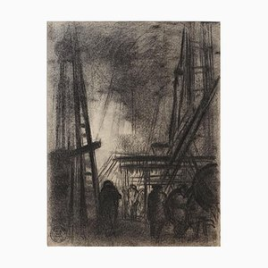Dark City - Dessin Original Charbon par S. Goldberg - Milieu 20ème Siècle 20ème Siècle