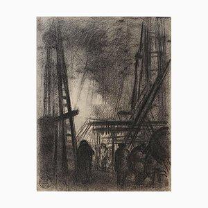 Dark City - Original Charcoal Drawing by S. Goldberg - Mid 20th Century Mid 20th Century