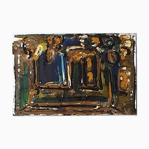 Abstract Composition - Original Tempera by A. Matheos Mid 20th Century
