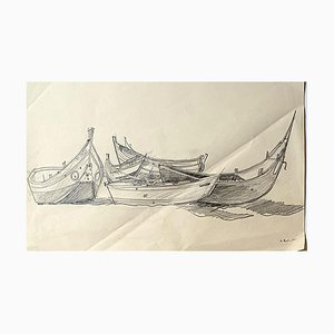Barche - Disegno a matita originale - Metà XX secolo, metà XX secolo