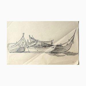 Boats - Original Pencil Drawing - Mid 20th Century Mid 20th Century