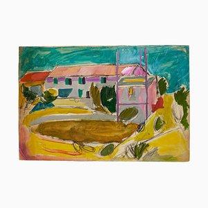 Village - Dessin Original Charbon & Aquarelle - Milieu 20ème Siècle 20ème Siècle