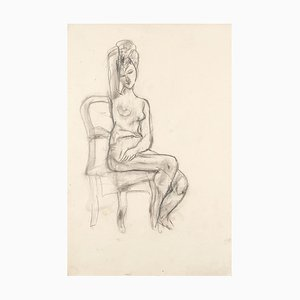 Nude - Original Pencil Drawing by Jeanne Daour - Mid 1900 Mid 20th Century