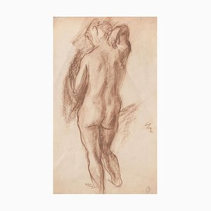 Nude - Original Charcoal Drawing - Late 19th Century Late 19th Century