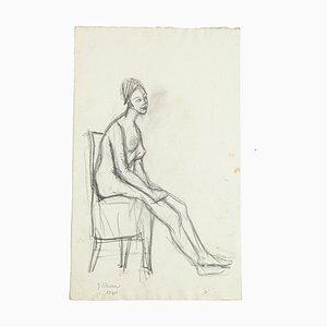 Nu - Dessin au Pluie Original par Jeanne Daour - 1940 1940