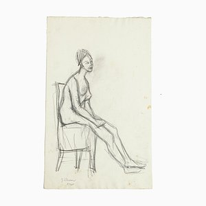 Nude - Original Pencil Drawing by Jeanne Daour - 1940 1940