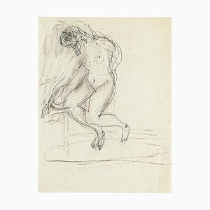 Seated Nude - Original Pencil Drawing by Jeanne Daour - 1950s 1950s