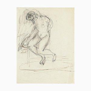 Sitzender Akt - Original Bleistiftzeichnung von Jeanne Daour - 1950er 1950er