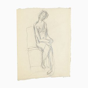 Seated Nude - Original Pencil and Pastel Drawing by Jeanne Daour - 1950s 1950s
