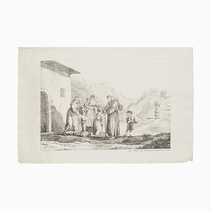 Prayers - Lithograph by Bartolomeo Pinelli - 19th Century 19th Century