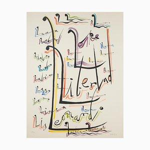 Buchstabe L - Handgefärbte Lithographie von Raphael Alberti - 1972 1972