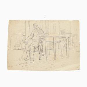 Figur im Inneren - Original Bleistiftzeichnung von Jeanne Daour - 1940 1940