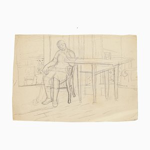 Figure in Interior - Original Pencil Drawing by Jeanne Daour - 1940 1940