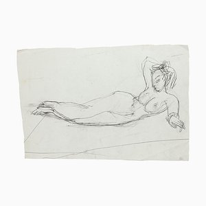 Lying Nude - Original Pencil Drawing by Jeanne Daour - 1950s 1950s