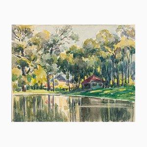 Bäume am See - Aquarell von French Master - Mid 20th Century Mid 20th Century
