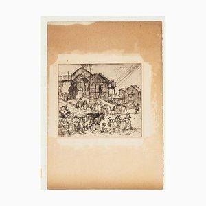 People - Original Etching by F. Brangwyn - Mid 20th Century Mid 20th Century
