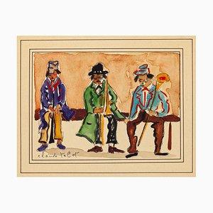 Musicians - Original Watercolor y C. Tabet - Mid 20th Century Mid 20th Century