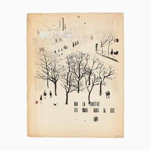 Paysage - Dessin Original à l'Encre et à l'Aquarelle - 1940 1940