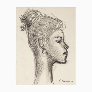 Portrait of Woman - Pencil and Charcoal Drawing by H. Yencesse - 1951 1951