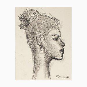 Ritratto di donna - Disegno a matita e carboncino di H. Yencesse - 1951 1951