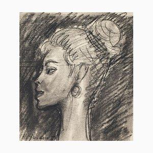 Retrato - Lápiz y dibujo a carboncillo de H. Yencesse - años 50