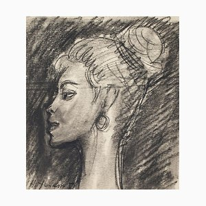 Ritratto - Disegno a matita e carboncino di H. Yencesse - anni '50