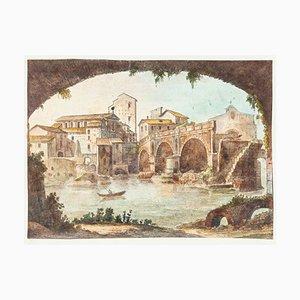 The Tiber - Gravure à l'Eau-Forte Original Main Watercolored - 19th-Century 19th-Century