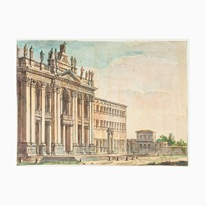 Basilica of San Giovanni in Laterano - Hand Watercolored Etching - 19th Century 19th Century