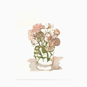 Vase avec Fleurs - Impression Vintage Offset d'après Giorgio Morandi - 1973 1973