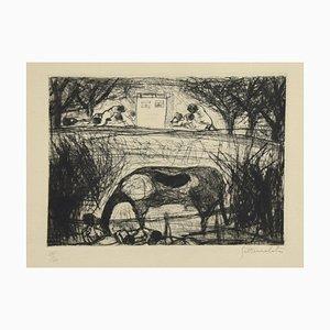 Landscape - Original Etching by N. Gattamelata - Late 20th Century Late 20th Century