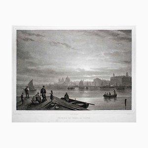 Venedig bei Nacht - Original Lithographie - 19. Jahrhundert 19. Jahrhundert