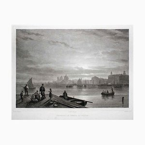 Venice during Night - Original Lithograph - 19th Century 19th Century
