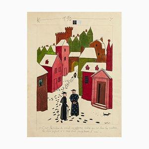 The Village - Original Mixed Media von Lucien Boucher - Mid 20th Century Mid 20th Century