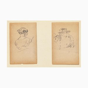 Two Portraits - Original Pencil Drawings by Tony Minartz - Early 20th Century Early 20th Century