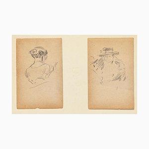 Zwei Porträts - Original Bleistiftzeichnungen von Tony Minartz - Frühes 20. Jahrhundert Frühes 20. Jahrhundert
