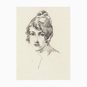 Portrait of Woman - Charcoal Drawing by J. Rochelles Collon - Early 1900 Early 1900