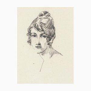 Portrait of Woman - Kohlezeichnung von J. Rochelles Collon - Früh 1900 1900