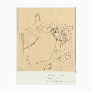 Couple - Original Pen Drawing by F. Lunel - Early 20th Century Early 20th Century