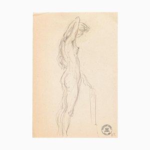 Nu - Dessin Original au Crayon par S. Goldberg - Milieu 20ème Siècle 20ème Siècle