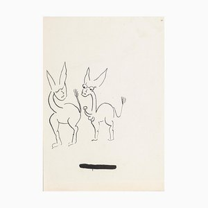 Two Donkeys - China Ink Drawing by Boris Ravitch - Mid 20th Century Mid 20th Century
