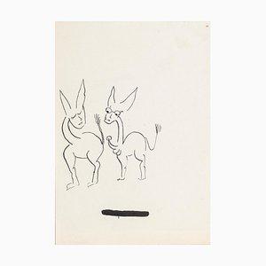 Two Donkeys - China Ink Drawing de Boris Ravitch - Mid-Century Mid-Century, siglo XX