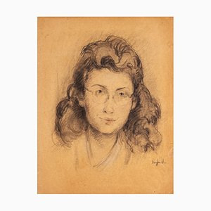 Female Portrait - Pencil and Charcoal on Paper by J. Dreyfus-Stern - 1940s 1940s