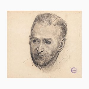 Male Portrait - Pencil and Charcoal Drawing on Paper by Paul Garin - 1950s 1950s