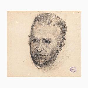 Male Portrait - Pencil and Charcoal Zeichnung auf Papier von Paul Garin - 1950s 1950s