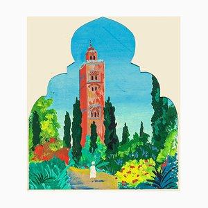 La Koutoubia Marrakech - Original Öl auf Karton von Jean Boudal - 1950er 1950er