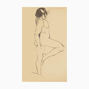 Nude Woman - Original China Ink Drawing - Mid 20th Century Mid 20th Century