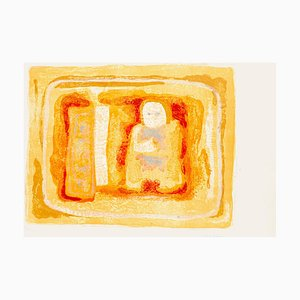 Orangish Figure - Original Litograph by Sami Burhan - 1969 1969